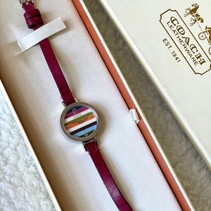 Coach Classic Quartz Pink Leather Strap Watch